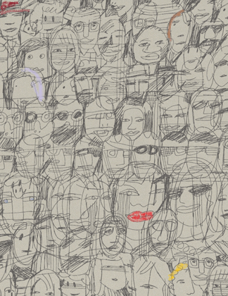 With a telephone on one hand and a pen on the other, Mariscal´s design reminds us of typical comic drawing. With a carefree but non-negligent style, this paper reflects what we have all doodled once: faces.